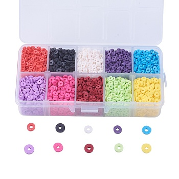 10 Colors Eco-Friendly Handmade Polymer Clay Beads, Disc/Flat Round, Heishi Beads, Mixed Color, 4~5x1mm, Hole: 1mm, about 3800~4000pcs/box