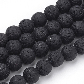 Natural Lava Beads Strands, Dyed, Round, Black, 6mm, Hole: 1mm; about 61pcs/strand, 14.96