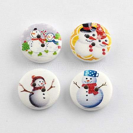 2-Hole Christmas Snowman Printed Wooden ButtonsX-BUTT-R032-057-1