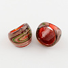 Handmade Gold Sand and Silver Foil Lampwork Wide Band RingsRJEW-Q150-M15-B-2