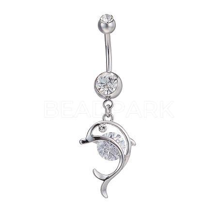 Piercing Jewelry Real Platinum Plated Brass Rhinestone Dolphin Navel Ring Belly RingsAJEW-EE0001-63-1