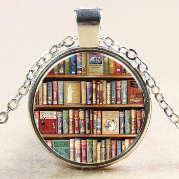 Book Pattern Flat Round Glass Pendant Necklaces, with Alloy Chains, Silver, 18