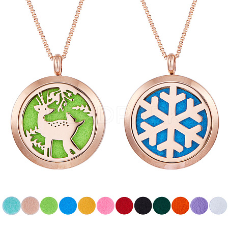 SUNNYCLUE® 304 Stainless Steel Pendant Necklaces NJEW-SC0001-04RG-1
