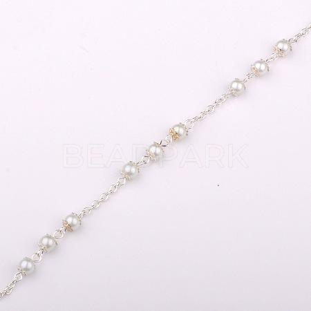 Handmade Round Glass Pearl Beads Chains for Necklaces Bracelets MakingX-AJEW-JB00056-01-1
