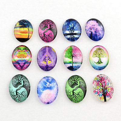 Oval Tree Pattern Glass Cabochons for DIY ProjectsX-GGLA-Q040-25x18-M13-1