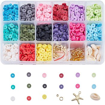Eco-Friendly Handmade Polymer Clay Beads, Disc/Flat Round, Heishi Beads, Mixed Color, 6x1mm, Hole: 2mm, about 190~200pcs/compartment, 2850~3000pcs/box
