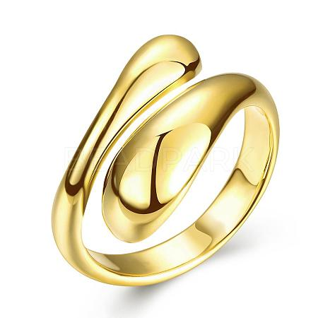 Real 18K Gold Plated Adjustable Brass Finger Rings for WomenRJEW-BB07574-A-1