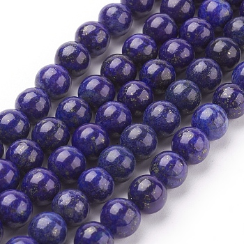 Natural Lapis Lazuli Beads Strands, Dyed, Round, Blue, 8mm, Hole: 1mm