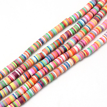 Handmade Polymer Clay Bead Strands, Heishi Beads, Disc, Mixed Color, 6x0.5~1mm, Hole: 2mm; about 320~447pcs/strand, 15.74