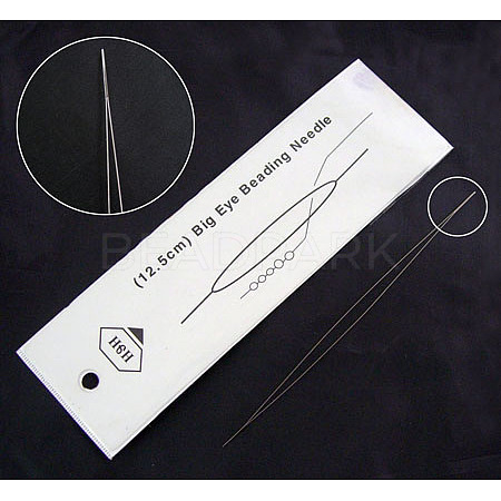 Stainless Steel Big Eye Beading NeedlesES001Y-10cm-1