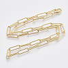 Brass Round Oval Paperclip Chain Necklace MakingMAK-S072-05A-G-2
