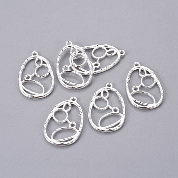 Alloy Pendants, Teardrop, Silver, Lead Free & Cadmium Free & Nickel Free, about 34mm long, 21mm wide, 2mm thick, hole: 2mm