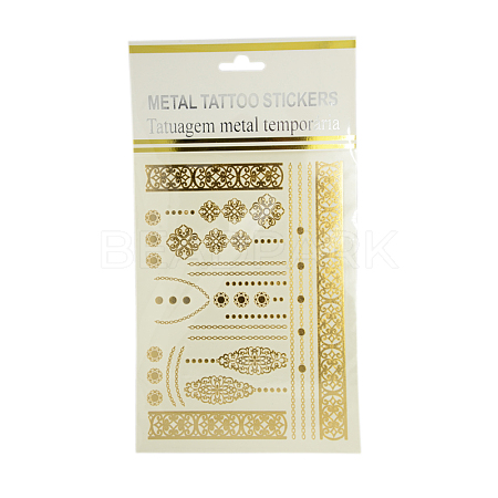 Cool Body Art Mixed Floral Pattern Removable Fake Temporary Tattoos Metallic Paper StickersAJEW-I008-08-1