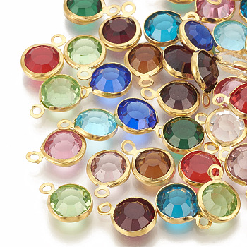 Glass Charms, with 304 Stainless Steel Finding, Flat Round, Faceted, Golden, Mixed Color, 12x8.5x4mm, Hole: 1.5mm