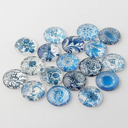 Blue and White Floral Printed Glass CabochonsGGLA-A002-18mm-XX-1
