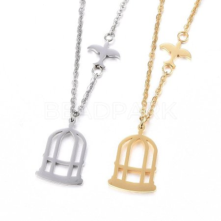 304 Stainless Steel Pendant Necklaces NJEW-H497-07-1
