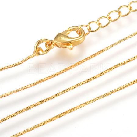 Real 18K Gold Plated Brass Box Chains Necklace MakingMAK-R014-G-1