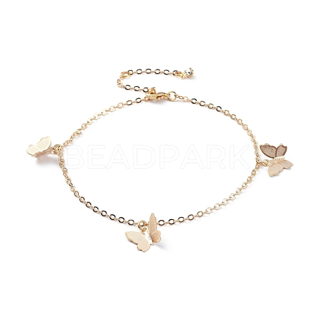 Brass Butterfly Charm AnkletsX-AJEW-AN00281-02-1