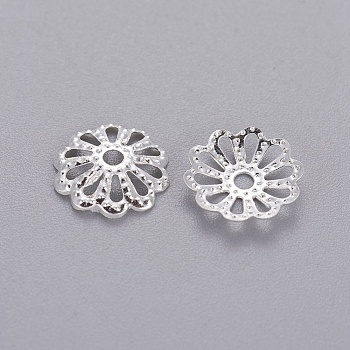 Silver Tone Filigree Flower Iron Bead Caps, 9mm, Hole: 1.5mm; about 134pcs/10g