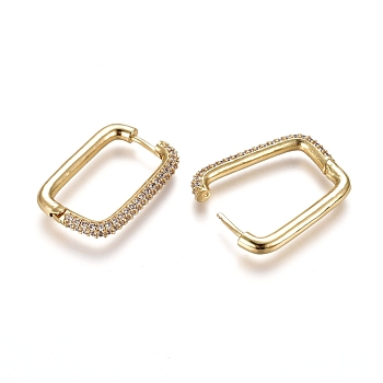 Brass Micro Pave Cubic Zirconia Hoop Earrings, Rectangle, Golden, Clear, 29.5x19.5x3.5mm; Pin: 1mm