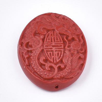 5.5x3.5cm High Quality Cinnabar Carved Chinese Guan Yu
