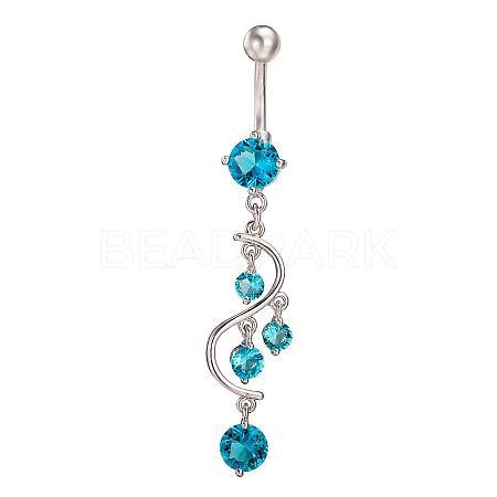 Piercing Jewelry Real Platinum Plated Brass Rhinestone S Shape Navel Ring Belly RingsAJEW-EE0001-54D-1