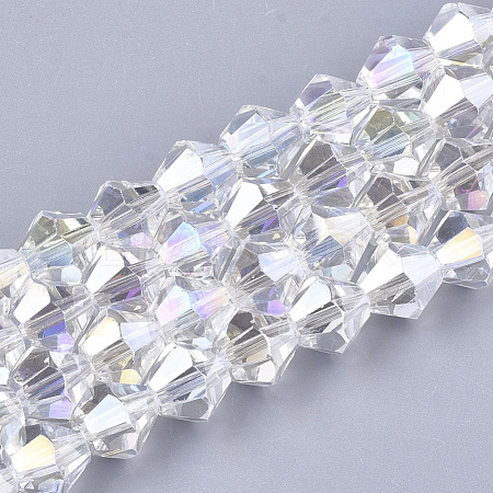 Electroplate Glass Beads Strands EGLA-Q118-6mm-B17-1