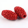 Carved Cinnabar Beads X-CARL-Q004-76B-3