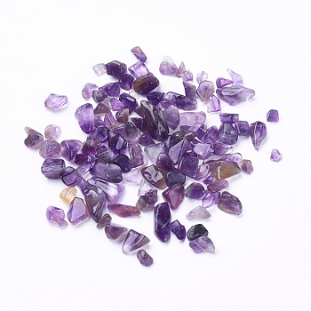 Natural Amethyst Chip Beads, No Hole, 4x3mm