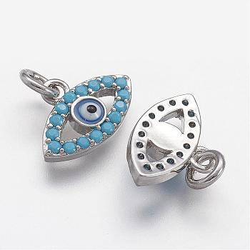 Brass Micro Pave Cubic Zirconia Charms, Evil Eyes, Platinum, 10x14.5x3mm, Hole: 2.8mm