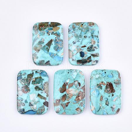 Assembled Synthetic Regalite/Imperial Jasper/Sea Sediment Jasper and Turquoise PendantsG-S329-049-1