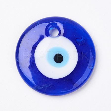 Handmade Lampwork Evil Eye PendantsX-LAMP-E106-02D-1