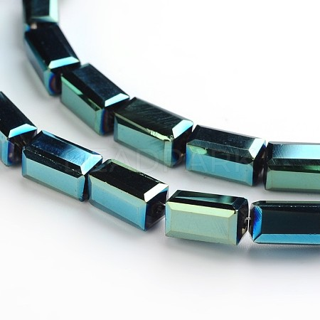 Full Plated Faceted Cuboid Electroplate Glass Beads StrandsEGLA-F109-B01-1
